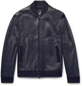 Dunhill Slim-Fit Suede-Trimmed Leather Bomber Jacket