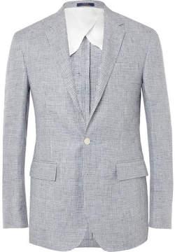 Polo Ralph Lauren Blue Morgan Slim-Fit Puppytooth Linen Blazer