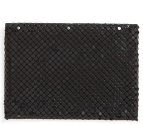 Whiting & Davis Women's Faux Leather & Mesh Card Case - Black