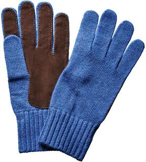Portolano Men's Minerva Happy Blue Suede & Wool-Blend Gloves