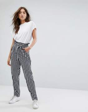 Noisy May Stripe Pant With Tie Waist