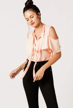 Azalea Sleeveless Buttoned Ruffle Top
