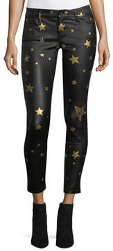 RtA Prince Mid-Rise Skinny-Leg Leather Pants with Golden Star Graphics