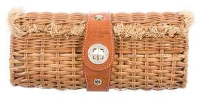 Kate Spade Leather-Trimmed Wicker Clutch - BROWN - STYLE