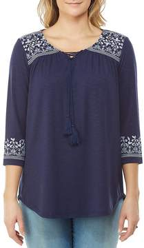 Allison Daley Lace-Up Tassel Tie-Neck Embroidered Bell Sleeve Top