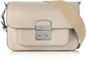 Michael Kors Sloan Editor Large Cement Leather Shoulder Bag - LIGHT GRAY - STYLE