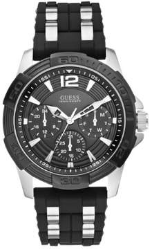 GUESS Men's Black and Silver-Tone Masculine Sport Watch
