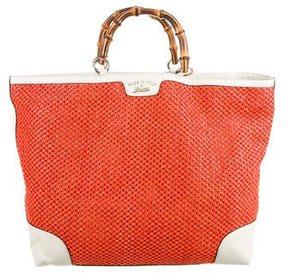 Gucci Bamboo Straw Shopper Tote - NEUTRALS - STYLE