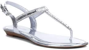 Gianni Bini Precious Metallic Fabric Jeweled T-Strap Sandals