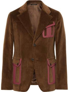 Prada Slim-Fit Leather-Trimmed Cotton-Corduroy Suit Jacket