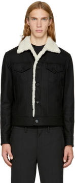 Neil Barrett Black Shearling Collar Jacket