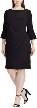 Chaps Plus Size Ruched Velvet Sheath Dress