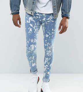 Jaded London Muscle Fit Super Skinny Jeans In Mid Blue With Bleaching