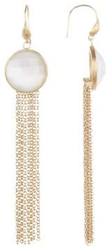 Rivka Friedman White Cat's Eye Fringe Dangle Earrings