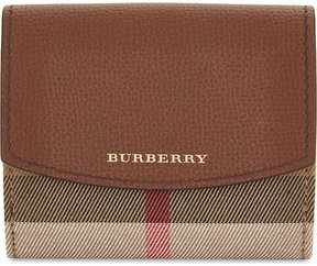 Burberry Luna house check and leather wallet - TAN - STYLE