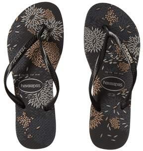 Havaianas Slim Logo Metallic Bloom Flip Flops Women's Sandals
