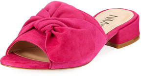 Neiman Marcus Sancha Suede Bow Slide, Hot Pink