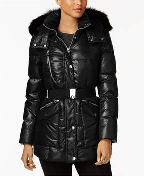 Andrew Marc Coyote-Fur-Trim Hooded Puffer Coat