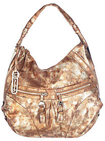 B. Makowsky Glove Leather Zip Top Slouchy Hobo with Zipper Pockets