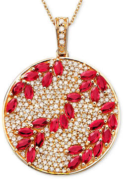 Effy Rosa by Ruby (3-1/3 ct. t.w.) & Diamond (9/10 ct. t.w.) Pendant in 14k Rose Gold, Created for Macy's