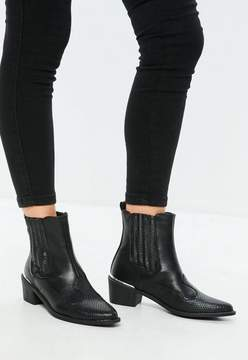 Missguided Black Snake Pattern Detail Cowboy Chelsea Boots