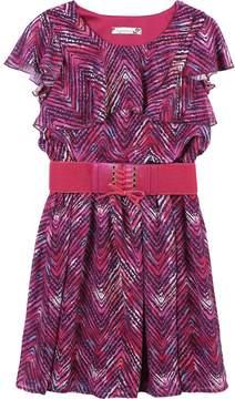 Speechless Girls 7-16 Belted Short Sleeve Ruffled Chiffon Dress