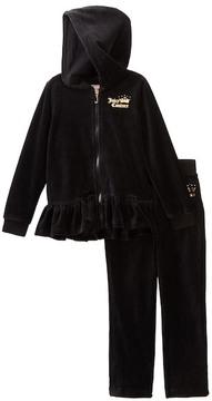 Juicy Couture Black Velour Ruffle Bottom Hoodie & Pants Set (Little Girls)