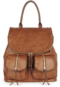 Emery vegan leather backpack with front pockets