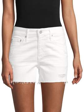 AG Adriano Goldschmied Women's Distressed Stretch Shorts - White, Size 30 (8-10)
