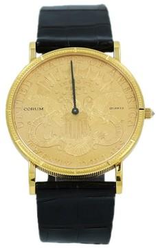 Corum 18K Yellow Gold Diamond Crown $20 Coin 1893 Quartz 35mm Unisex Watch