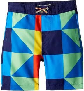 Appaman Kids Allover Multicolored Square Print Swim Trunks Boy's Swimwear
