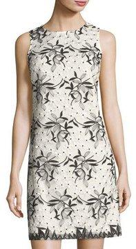 Donna Ricco Sleeveless Embroidered Mesh Shift Dress