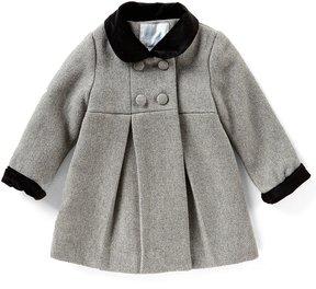 Edgehill Collection Baby Girls 12-24 Months Pleated Velvet-Trim Coat