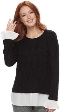 Elle Women's Mock-Layer Cable Knit Sweater