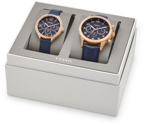 Fossil His Chronograph and Her Multifunction Navy Leather Watch Gift Set