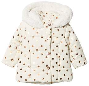 Absorba Cream and Gold Spot Padded Coat with Fleece Lining