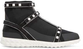 Valentino Garavani The Rockstud Bodytech Suede-trimmed Paneled Stretch-knit Sneakers - Black