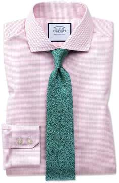 Charles Tyrwhitt Slim Fit Spread Collar Non-Iron Natural Cool Micro Check Pink Cotton Dress Shirt Single Cuff Size 14.5/33