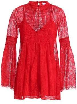 Alice McCall Hands To Myself Shirred Lace Playsuit
