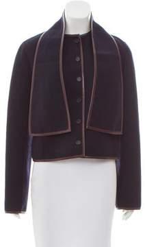 Celine Leather-Trimmed Wool Jacket