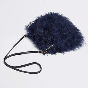 River Island Navy Mongolian cross body bag