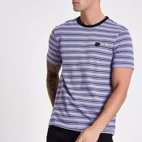 River Island Mens Purple rose embroidered muscle fit T-shirt