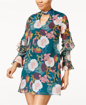 As U Wish Juniors' Floral-Print Choker-Neck Dress
