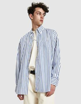 Our Legacy Borrowed BD Shirt in Blue Candy Stripe Poplin