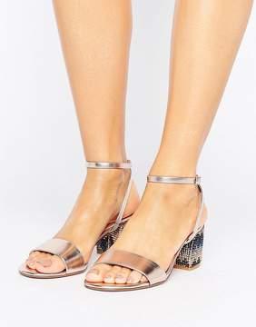 Dune London Marble Metallic Gem Block Heeled Sandals