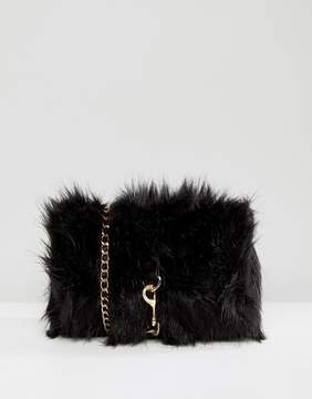 Pieces Faux Fur Cross Body Bag With Buckle