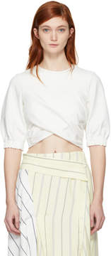3.1 Phillip Lim Off-White Twisted Cropped T-Shirt
