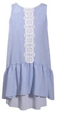 Iris & Ivy Girl's Lace-Trimmed Stripe Hi-Lo Dress