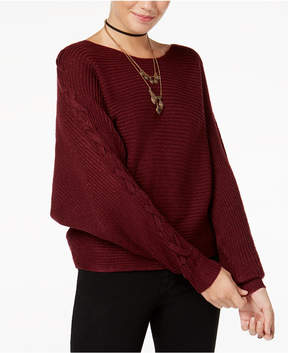 American Rag Juniors' Metallic Lace-Up-Sleeve Sweater, Created for Macy's