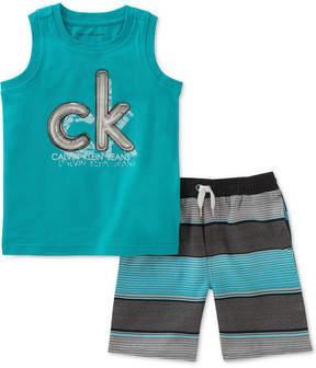 Calvin Klein Little Boys 2-Pc. Graphic-Print Tank Top & Striped Shorts Set